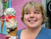 Karen Minielly with the new Canada 150 flavours at the London Ice Crream Company. Nanaimo Bar, Bruce Trail Mix, Oh Canada! Canadian Rockies. (MORRIS LAMONT, The London Free Press)