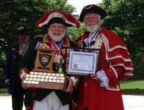 David McKee poses with Markham town crier John Webster after Brantford's town crier won gold medals at the Canadian and provincial town crier championships in Markham. (Submitted Photo)