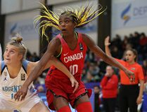 Kingston's Aaliyah Edwards, seen here playing with Team Canada in the FIBA U16 Women's Americas Championship in Buenos Aires, Argentina, in early June, was named MVP of the Canada Basketball Girls 15U National Championship in Regina while leading Team Ontario to victory. (FIBA.com)