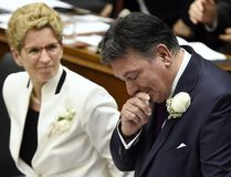 <p>Ontario Finance Minister Charles Sousa, right, cries as he delivers the 2017 Ontario budget next to Premier Kathleen Wynne at Queen's Park in Toronto on Thursday, April 27, 2017. </p><p> THE CANADIAN PRESS/Nathan Denette