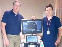 Echocardiography services at South Bruce Grey Health Centre Kincardine and Walkerton sites are expanding on July 13, 2017. Photo L-R: Dr. Gerard Shoemaker - Cardiologist, Mike Read - Echosonographer. (Shared photo)