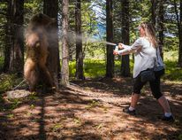 Learning how to use bear spray properly is vital when exploring the natural areas around Pincher Creek as the bear populations are moving closer to populated areas. | Lisa Kinnear photo/CNP BearSmart Association