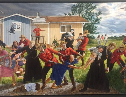 Cree artist Kent Monkman's acrylic painting The Scream (2017) highlights Indigenous children being hauled away to Residential schools by Catholic priests under the supervision of RCMP officers. It's one of the works on display in the Many Voices: Indigenous Art special exhibit at the Bellevue House. Opened for Canada 150, the exhibit highlights the different perspectives and voices throughout Canadian history. (Joe Cattana/For The/Whig-Standard)