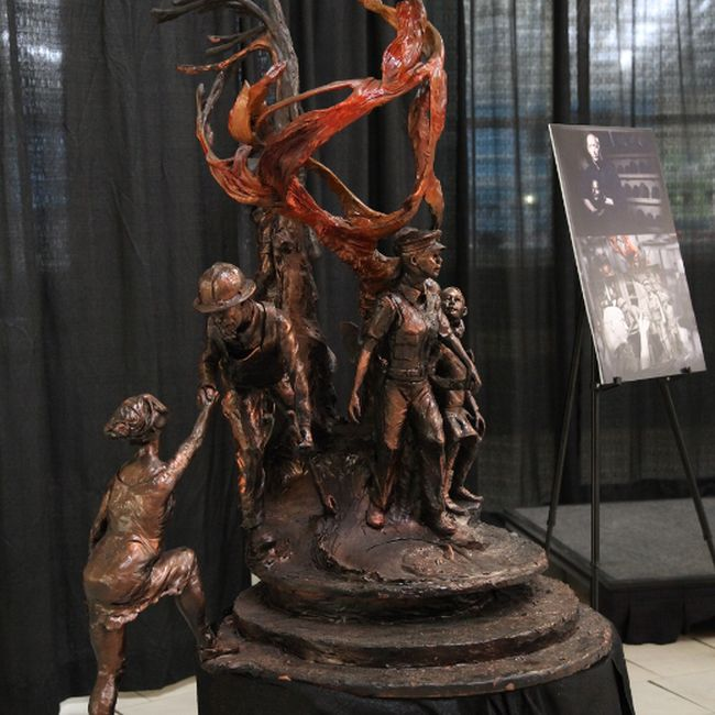 The maquette of what will be a 16-foot statue to be installed in a park on Beacon Hill when complete, unveiled at MacDonald Island June 1, 2017. Olivia Condon/ Fort McMurray Today/ Postmedia Network