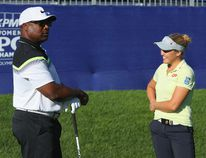 Former NFL star Bo Jackson (L) chats with Brooke Henderson of Canada during the pro-am prior to the start of the 2017 KPMG Women's PGA Championship at Olympia Fields Country Club on June 27, 2017 in Olympia Fields, Illinois. (Photo by Scott Halleran/Getty Images for KPMG)