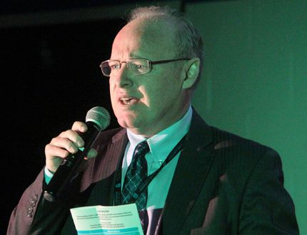 Dan Parr, director of the St. Clair Catholic District School Board, speaks during a rally at St. Patrick's High School last November. Parr announced Wednesday he's retiring at the end of the year. (Observer file photo)