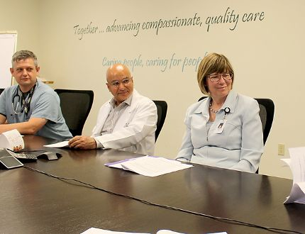 The Chatham-Kent Health Alliance is reducing staff in its emergency department in Chatham, Ont., but plans to make other changes to increase efficiency. Pictured here, from, left, are Dr. Anthony Dixon, chief and program medical director of emergency medicine, Dr. Pervez Faruqi, chief of staff, Lori Marshall, president and CEO and Rob Devitt, hospital supervisor, during the announcement of the CKHA recovery plan on Tuesday June 27, 2017. (Ellwood Shreve/Chatham Daily News/Postmedia Network)