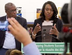 Ontario Minister of Education Mitzie Hunter speaks during a press conference in the library of Chemong Public School on Wednesday, June 28, 2017 in Bridgenorth, Ont. An overhaul of the process that school boards use to review schools for potential closure and $20 million for rural and northern Ontario schools were among the announcements. JASON BAIN/The Peterborough Examiner/Postmedia Network