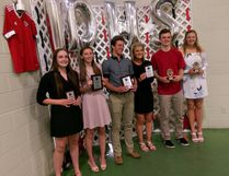 Paris District High School recently handed out its annual athletic awards with the following major winners: Erin Kerr (left) and Kinsey Guthrie, unsung hero for overall contribution to sports; Tucker Almert, junior male athlete of the year; Paige Cohoon, senior female athlete of the year; McGarry Fergus and Leah Walker, Athletic Council top male and female for contribution to athletic achievement, leadership and athletics. Missing are junior female athlete of the year Brooke Lainson and senior male athlete of the year Zachary Thomas. (Submitted Photo)