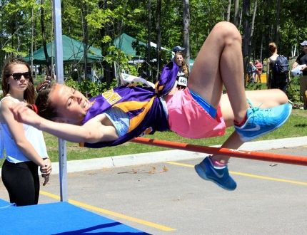 Sean Chase/Daily Observer Mackenzie's Eden Jefferson clears the bar as she competes in the Grade 6 girls high jump during the Renfrew County elementary track and field finals.