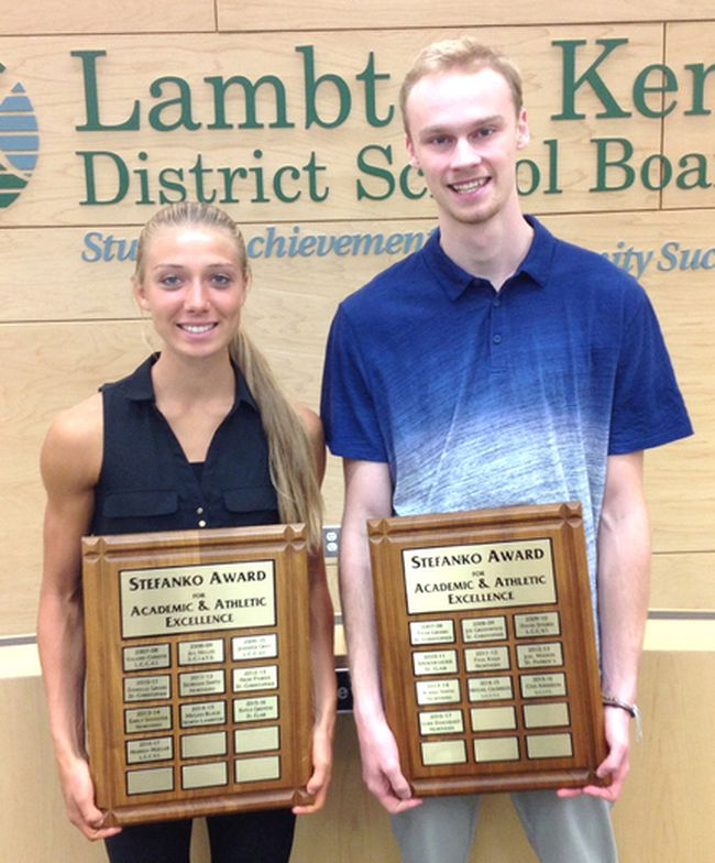 2016-2017 Stefanko Award recipients Marissa Mueller (LCCVI) and Luke Daichendt (Northern Collegiate) accept their awards at the Lambton Kent District School Board office in Sarnia. This is the 10th year for the Stefanko Award. (Handout/Postmedia Network)