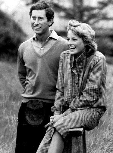Charles and Diana pose for photographers after their marriage.