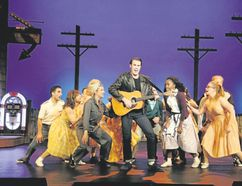 David Cotton, centre, as Chad and Danielle Wade, left of Cotton, as Natalie join the ensemble in All Shook Up, playing at Huron Country Playhouse.