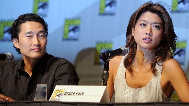 "Daniel Dae Kim and Grace Park speak during the ""Hawaii Five-0"" panel discussion during Comic-Con 2010 at San Diego Convention Center on July 23, 2010 in San Diego, Calif.  (Frazer Harrison/Getty Images)"