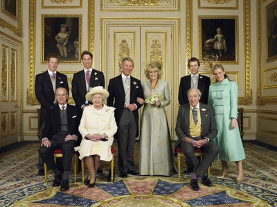 Clarence House official handout photo of the Prince of Wales and his new bride Camilla, Duchess of Cornwall, with their families (L-R back row) Prince Harry, Prince William, Tom and Laura Parker Bowles (L-R front row) Duke of Edinburgh, Britain's Queen Elizabeth II and Camilla's father Major Bruce Shand, in the White Drawing Room at Windsor Castle after their wedding ceremony, April 9, 2005 in Windsor, England. (Hugo Burnand/Pool/Getty Images)