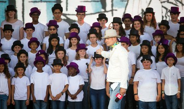 Gord Downie of the Tragically Hip addressed the youth choir that sang The Stranger from Downie's Secret path album during WE Day Canada Sunday July 2, 2017 on Parliament Hill.   Ashley Fraser/Postmedia