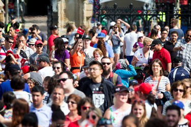 People in the crowd during WE Day Canada Sunday July 2, 2017 on Parliament Hill.   Ashley Fraser/Postmedia