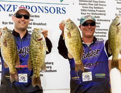 Dave Demers and Chis Sherman display two of the bass that helped them win last year's Canadian Tire Mitchell's Bay Open with a total catch of 45.57-pounds. The fishing tournament, which is growing in popularity, is being held this weekend. (Handout/Chatham Daily News)