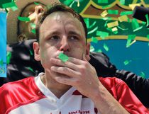 Joey Chestnut (left) won the Nathan's Annual Famous International Hot Dog Eating Contest, marking his 10th victory in the event, Tuesday July 4, 2017, in New York. Miki Sudo (right) took the women's division title. (AP Photo/Bebeto Matthews)