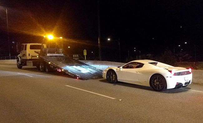 A 2015 Ferrari 458 is seen in this undated police handout photo. (THE CANADIAN PRESS/HO, West Vancouver Police)