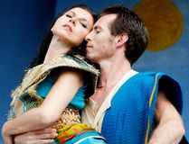 Cleopatra, played by Rachel Jones, is embraced by Antony (Jonathan Purvis) during a photo shoot on Tuesday as the St. Lawrence Shakespeare Festival prepares to embark on its 15th season this weekend. (RONALD ZAJAC/The Recorder and Times)