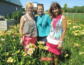The Huron IPM 2017 has announced the 'Huron Sunrise' Daylily as the official flower of the Sept. 19-23, 2017 event. Stop by Falhaven Nursery of Varna July 12 to Aug. 12, 201 to see the daylily. L-R: Monique Baan, Alicia Deitner, and Lynne Godkin show off the bloom.