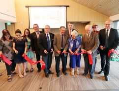 The red ribbon is cut at the grand opening of the new Nova House women's shelter at the Gaynor Family Regional Library. (Brook Jones/Selkirk Journal/Postmedia Network)