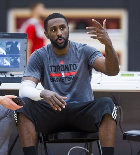 Patrick Patterson is interviewed during a Toronto Raptors practice at the BioSteel Centre in Toronto on March 15, 2017. (Ernest Doroszuk/Toronto Sun/Postmedia Network)