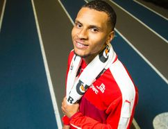 Canadian sprinter Andre De Grasse is photographed at The Dome at Louis-Riel on July 5 2017. (Darren Brown/Postmedia)