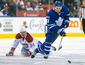 Toronto Maple Leafs forward Zach Hyman during a game against the Montreal Canadiens at the Air Canada Centre on Jan. 7, 2017. (Ernest Doroszuk/Toronto Sun/Postmedia Network)