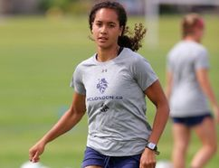 Former U20 player for Canada, Ashley Campbell is now with FC London. (MIKE HENSEN, The London Free Press)