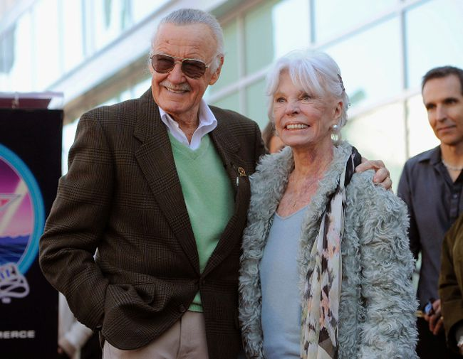 In this Jan. 4, 2011, file photo, comic book creator Stan Lee, left, poses with his wife Joan after he received a star on the Hollywood Walk of Fame in Los Angeles. (AP Photo/Chris Pizzello, File)
