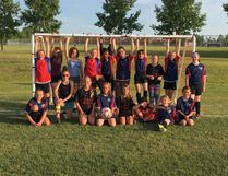 After playing a fun baseball game, the Leduc Giants mosquito girls team and the Leduc Soccer U12 girls team played one another in a fun soccer game.(Submitted photo)