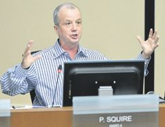 Coun. Phil Squire speaks during a decisive debate about bus rapid transit at city hall on May 15. (Free Press file photo)