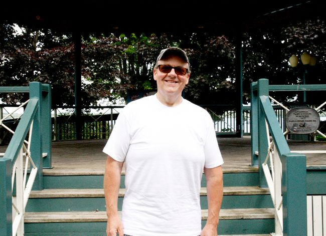 Chris Coyea, co-organizer of the Sunday in the Park concert series, poses at the Hardy Park gazebo.(RONALD ZAJAC/The Recorder and Times)