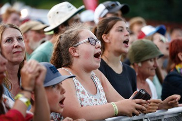 Fans sing along as The Strumbellas perform during Seven Music Fest at Mission Park in St. Albert on Saturday, July 8, 2017. Ian Kucerak / Postmedia (Standalone)