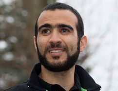 Omar Khadr speaks to the media outside his lawyer's west Edmonton home on Thursday May 7, 2015. (David Bloom/Postmedia Network)