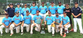 The Sarnia Braves won the 2017 Lakeside Invitational senior baseball tournament Sunday, July 9, 2017, in London, Ont. (Contributed Photo)