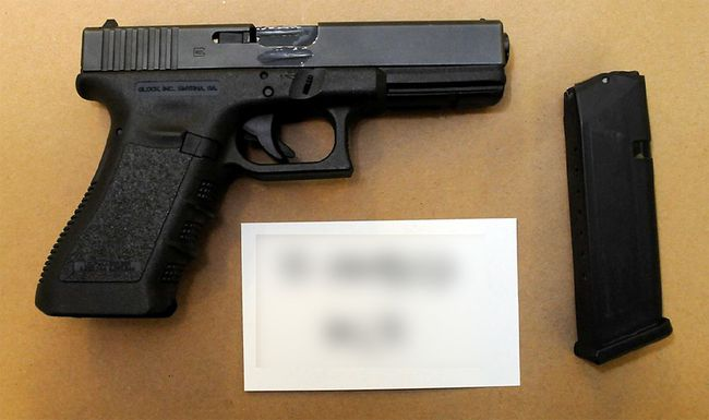 Officers from the Alberta Law Enforcement Response Team's (ALERT) Organized Drug and Gang Unit seized this Glock 22 .40-calibre handgun from an Edmonton home as well as $240,000 worth of cannabis products, $36,000 in cash and a 2004 Mercedes-Benz sedan on June 29, 2017.