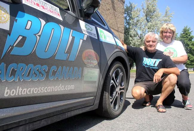 Buddy Boyd and Barb Hetherington are driving across Canada in their electric Chevy Bolt.