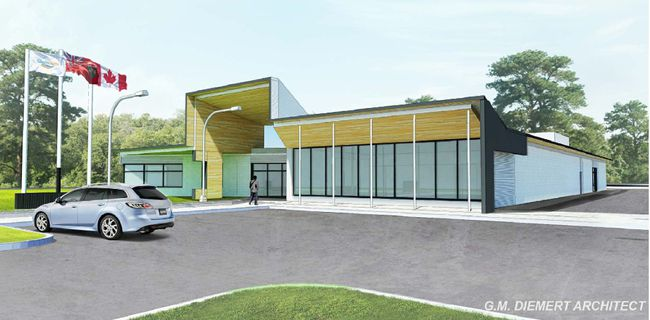 Saugeen Shores will hire a project manager to oversee the design and costing of a proposed $6.8 million new headquarters for Saugeen Shores Police Services, as shown in an architect's rendering.