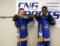 Kjelt Sandboe and Riley Goertzen on Saturday July 8, 2017 at the Coca-Cola Centre in Grande Prairie, Alta. The two will be playing at the Western Challenge Cup in Sherwood Park July 13-16 and then at the Junior National Ball Hockey Championships in Kitchener, Ontario on July 27-30. Logan Clow/Grande Prairie Daily Herald-Tribune/Postmedia Network