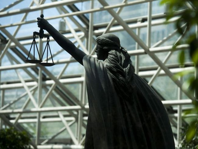 Scales of Justice statue at BC Supreme Court in Vancouver, BC Thursday, May 5, 2016. (Photo by Jason Payne/ PNG)