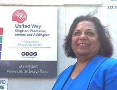 Bhavana Varma, CEO of the United Way of Kingston, Frontenac, Lennox and Addington, is seen outside her office on Bagot Street in Kingston on Tuesday, July 11, 2017.