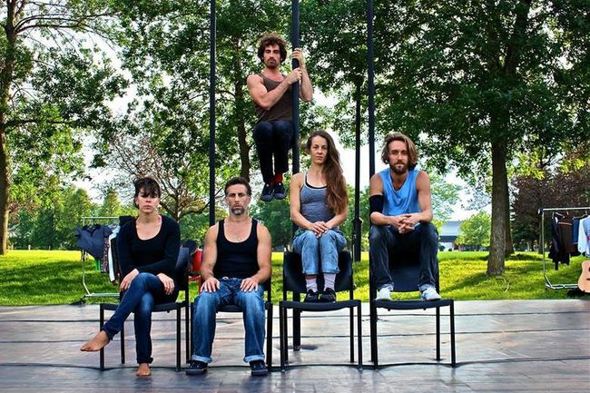 The acrobats of Entre Nous Cirque. One of the performers was badly injured in a fall July 11, 2017, in a Montreal park. (Facebook)
