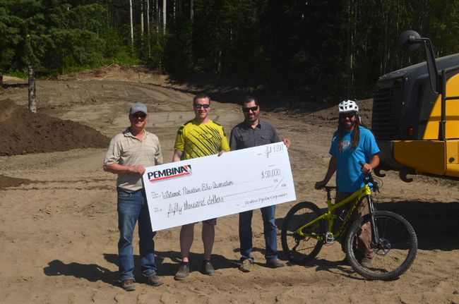 Pembina Pipelines donated $50,000 towards a new mountain bike park in Whitecourt on July 4.