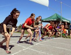 Sean Chase/Daily Observer Rockwood's Holly Van Loan (left) and her fellow competitors wait for the starter's pistol to fire launching the Grade 8 girls 400-metre race during the county's elementary track and field championships June 7 in Petawawa.