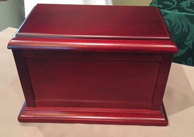Strathcona County resident Lois Gordon is pleading for the return of her mother's ashes, which were stolen from her mom's residence on July 8. The ashes were kept in a cherrywood chest (pictured).