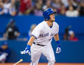 Outfielder Colby Rasmus in action against the Baltimore Orioles at the Rogers Centre in Toronto on Tuesday August 5, 2014. (Ernest Doroszuk/Toronto Sun)