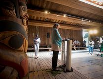 Marion Buller, Chief Commissioner of the National Inquiry into Missing and Murdered Indigenous Women and Girls, speaks during a news conference at Haida House at the Museum of Anthropology, in Vancouver on Thursday, July 6, 2017. THE CANADIAN PRESS/Darryl Dyck